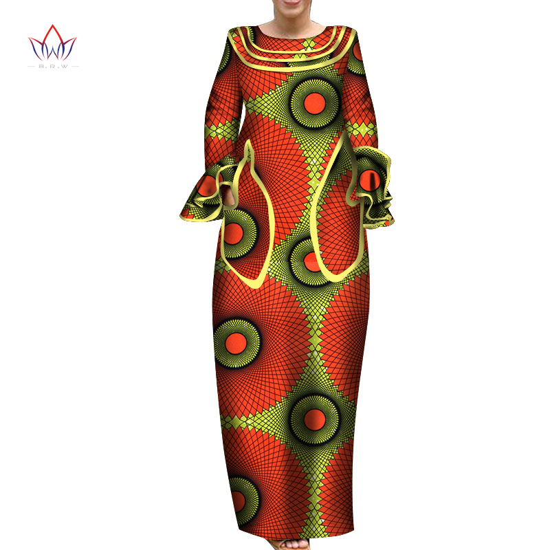 2020 African Long Dresses For Women Fashion Design Dashiki Africa Ladies Clothing Bazin Riche O-neck Full Sleeve Dress WY6338