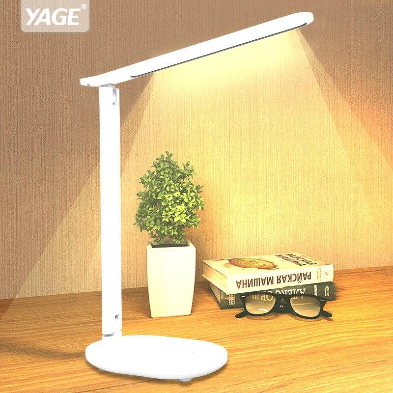 Luz de lectura de escritorio regulable sin escalonamiento plegable Interruptor táctil LED lámpara de mesa cargador USB batería recargable lámpara de noche