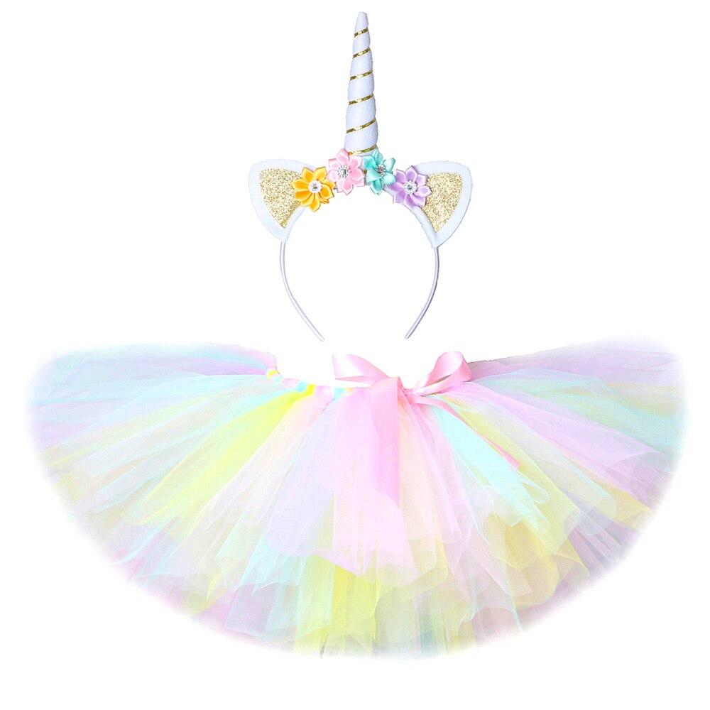 Pastel unicórnio tutu saia para meninas do bebê dança tutus crianças tule saias para o aniversário ano novo traje da criança outfits 3m-14 anos