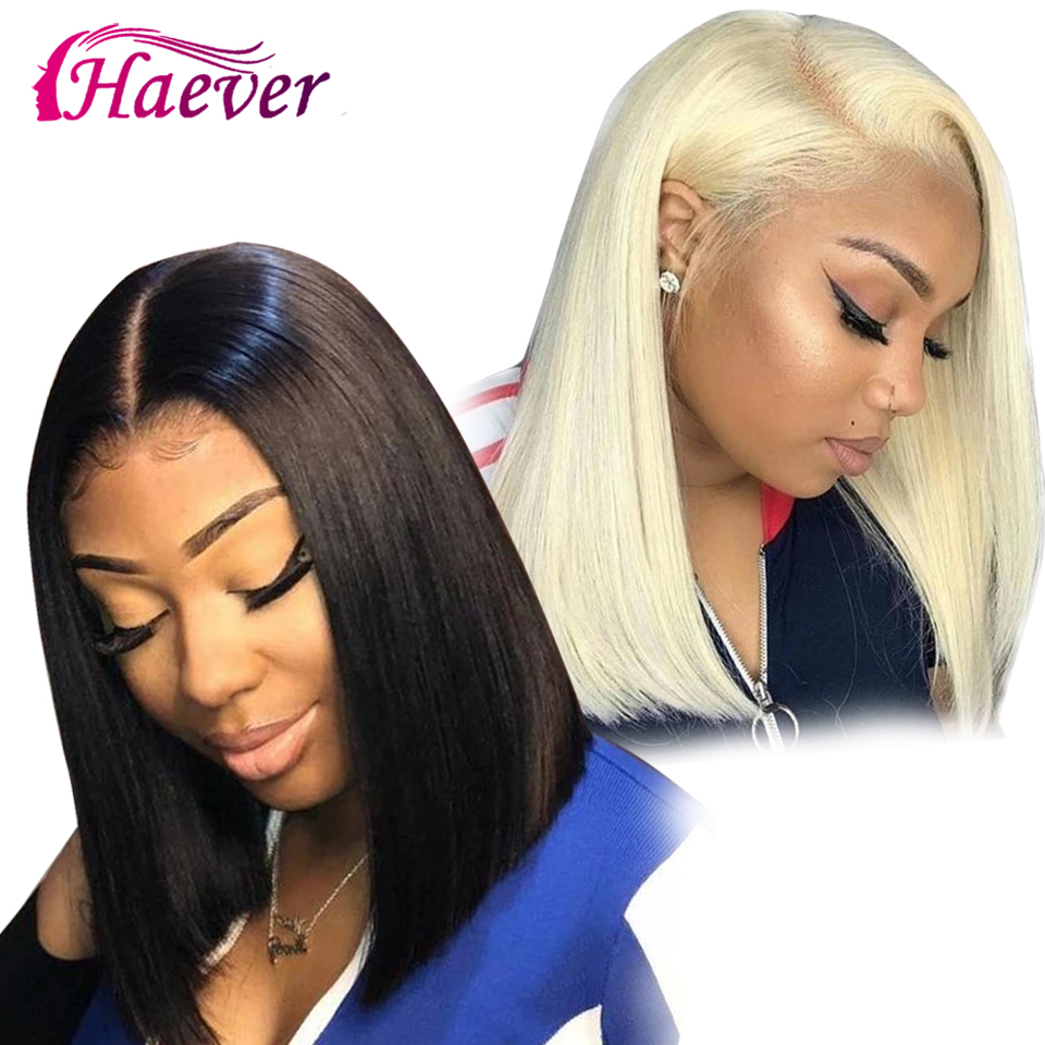 Straight Short Lace Front Human Hair Wigs Blonde 613 Human Hair 13x4 Lace Frontal Wig Brazilian Hair Bob Wig For Black Women