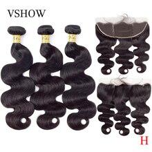 VSHOW פרואני גוף גל חבילות עם פרונטאלית 100% רמי שיער טבעי Weave חבילות עם סגירה פרונטאלית 13x4 שיער טבעי הארכת