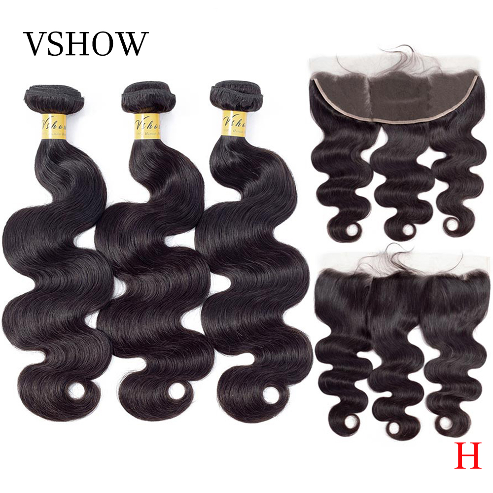 VSHOW Peruvian Body Wave Bundles With Frontal 100% Remy Human Hair Weave Bundles With Closure Frontal 13x4 Human Hair Extension