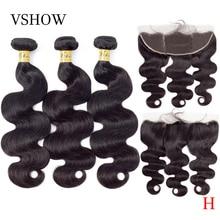 VSHOW perulu vücut dalga demetleri ile Frontal % 100% Remy insan saçı örgüsü demetleri ile kapatma Frontal 13x4 İnsan saç uzatma