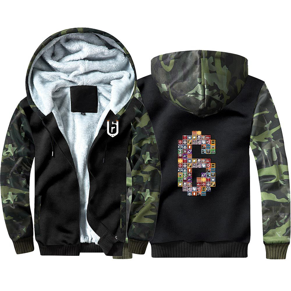New Game Rainbow Six Tom Clancy's Camouflage Hoodie Sweatshirts Winter Thicken Hooded Coat Cosplay Warm Men Clothing