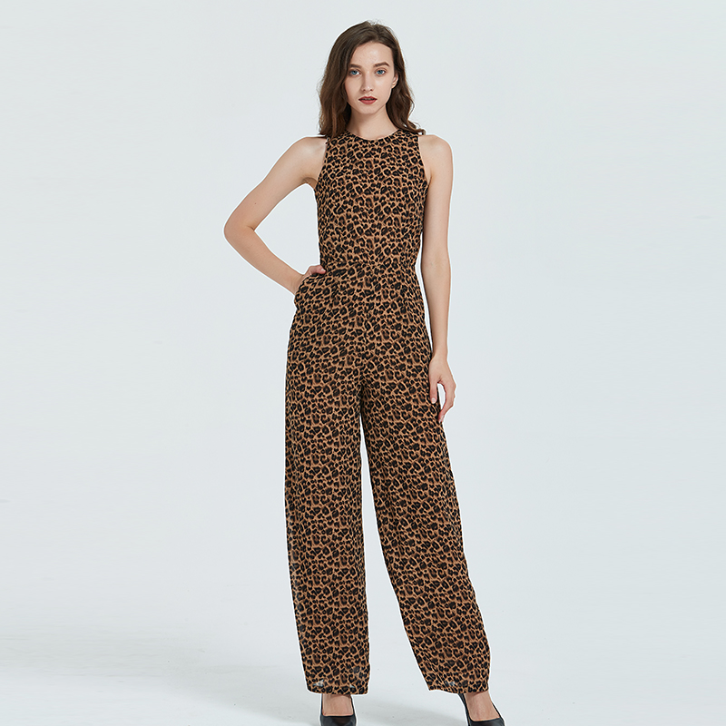 Women Summer Leopard Print Jumpsuit Party Chiffon O-neck Elegant Full Length High Street Rompers Plus Size 3XL 4XL