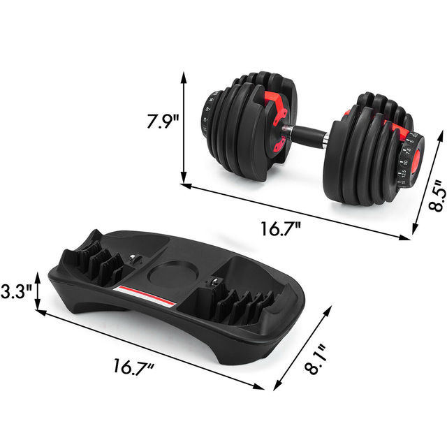 1Pcs 24kg Adjustable Selectable Dumbbells Weights Home Gym 52lbs  5