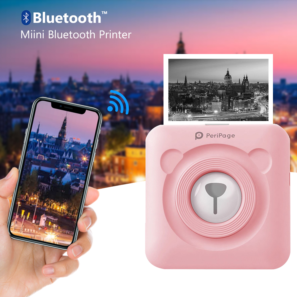 Bluetooth 4.0 Thermal Photo Printer Wireless Inkless Mini Pocket Printer Sticker Paper Kit For IOS Android PC W/ Soft Case Fotos