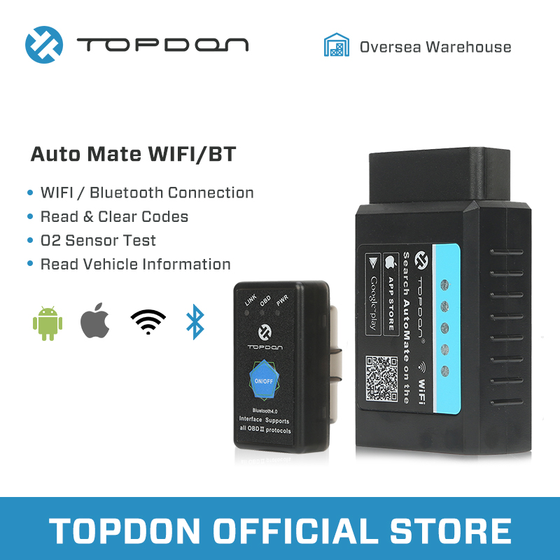 TOPDON AutoMate ELM327 Bluetooth 4.0 Scanner OBDII 2 Diagnoses Data Record Clear vehicle diagnostic tool
