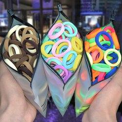 50/100 pçs/set meninas colorido náilon elástico cabelo loop crianças rabo de cavalo titular corda cabelo scrunchie headwear crianças acessórios para o cabelo