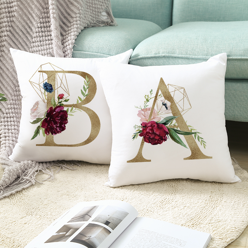 Домашний декор цветочный принт в виде золотых букв Подушка Чехол для подушки декоративные для дивана Гостиная наволочка из полиэстера 45x45