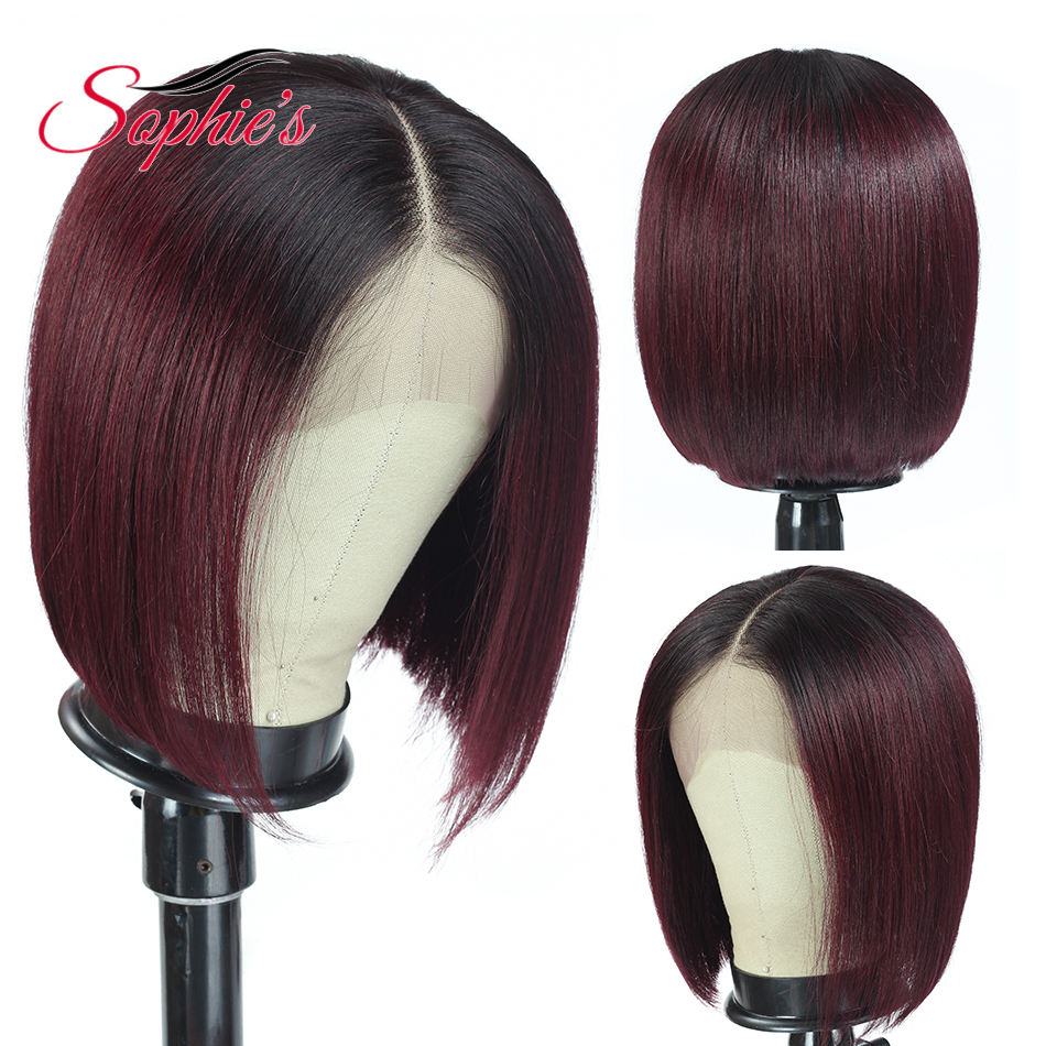 Sophie's 180% Density Lace Closure Human Hair Wigs For Black Women Brazilian Straight 4x4 Bob Lace Closure Wigs Remy T1b/99j