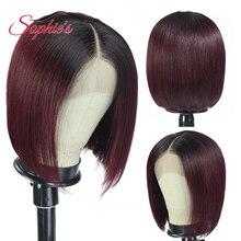 180% плотности кружева Софи закрытие человеческих волос парики для чернокожих женщин бразильские прямые 4х4 Боб Реми Т1ь/99j