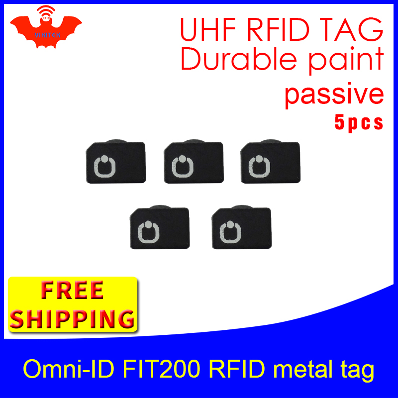 UHF RFID Metal Tag Omni-ID Fit200 915mhz 868mhz Alien Higgs3 EPC 5pcs Free Shipping Durable Paint Smart Card Passive RFID Tags