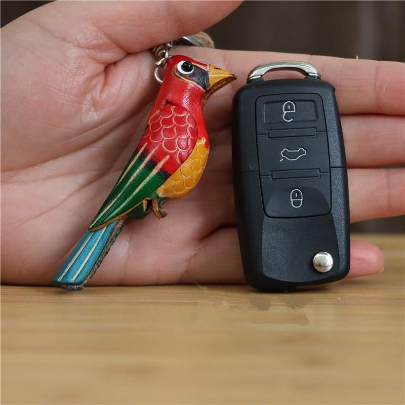 Bunter Vogel-Schlüsselanhänger aus echtem Leder, Schlüsselbund (ca. 8cm) Anhänger 3