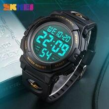SKMEI zegarek sportowy do użytku na zewnątrz mężczyźni wielofunkcyjne zegarki LED cyfrowy zegarek wojskowy 50M wodoodporny męski zegarek Relogio Masculio