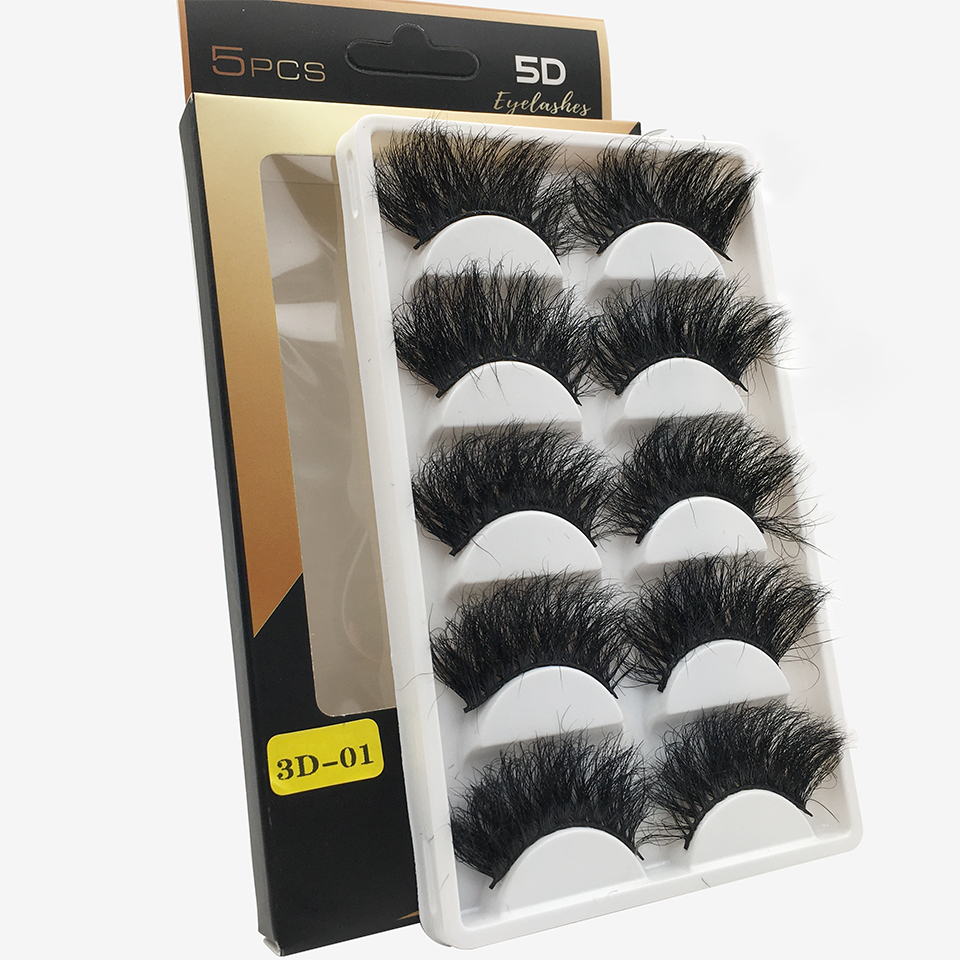 5 Pairs 100% Mink Lashes 25mm Fluffy Messy Thick 3D False Eyelashes Handmade Natural Lashes Makeup 25 Mm Mink Eyelashes
