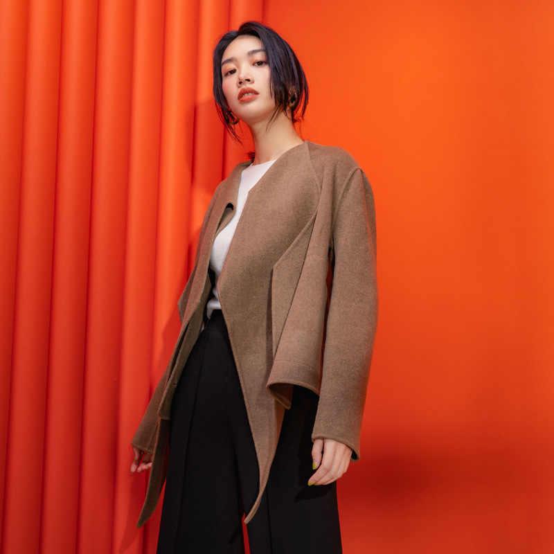 Shuchan Регулируемая талия дизайнерские женские пальто 2019 высокое качество 50% кашемир + 50% шерсть покрытые пуговицы свободные куртки зима