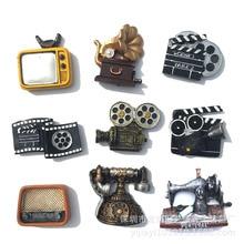 Imanes de nevera de estilo chino Vintage antiguo TV Motor película proyector 3D refrigerador hogar cocina decoración recuerdos de turismo