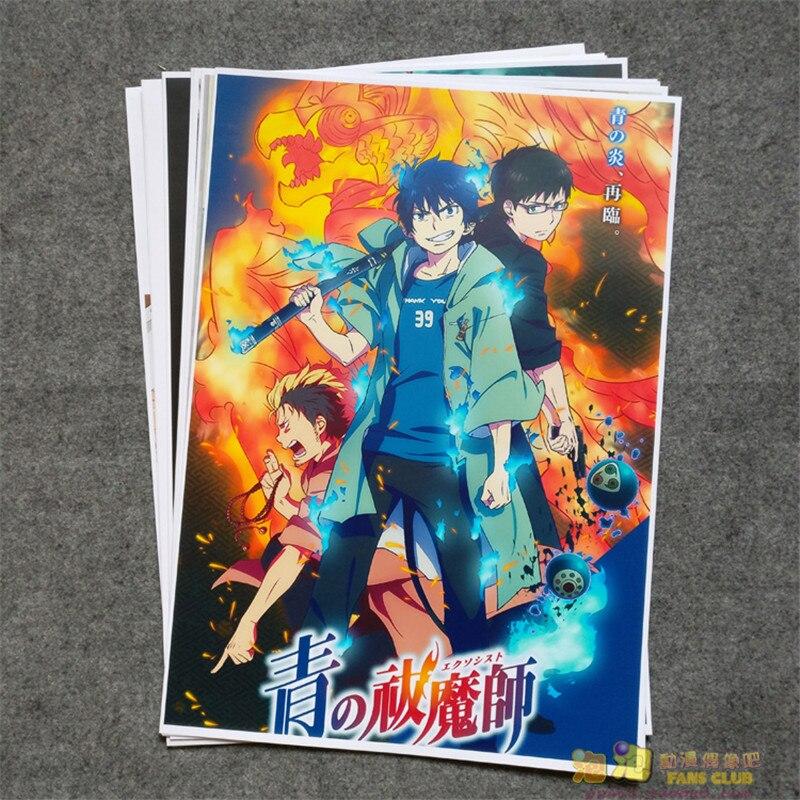 8 Pcs/set Anime Ao No Exorcist Poster Okumura Rin Kamiki Izumo Yukio Wall Pictures Room Stickers Toys A3 Film Posters