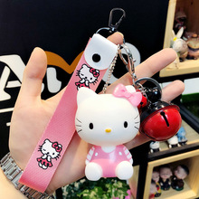 Cute Cartoon Hello Kitty Vocal Cat Keychain Girl Bag Pendant Jewelry Car Couple Key Ring Valentines Day Gift Wholesale