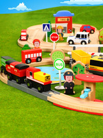 Wood Camera Track Drag Wood Small Building Block Set Mas Train CHILDREN'S Toy Wooden Have Race Car Excluded Educational