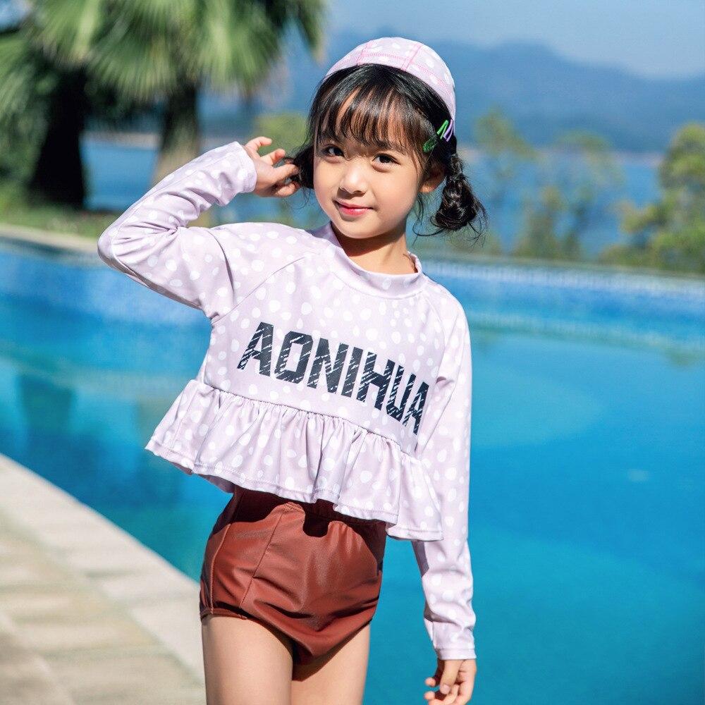 2019 Children Split Type Swimsuit Female Baby Hot Springs Boxer Swimwear Bubble Hot Springs Casual Girls Olive Flower 1006