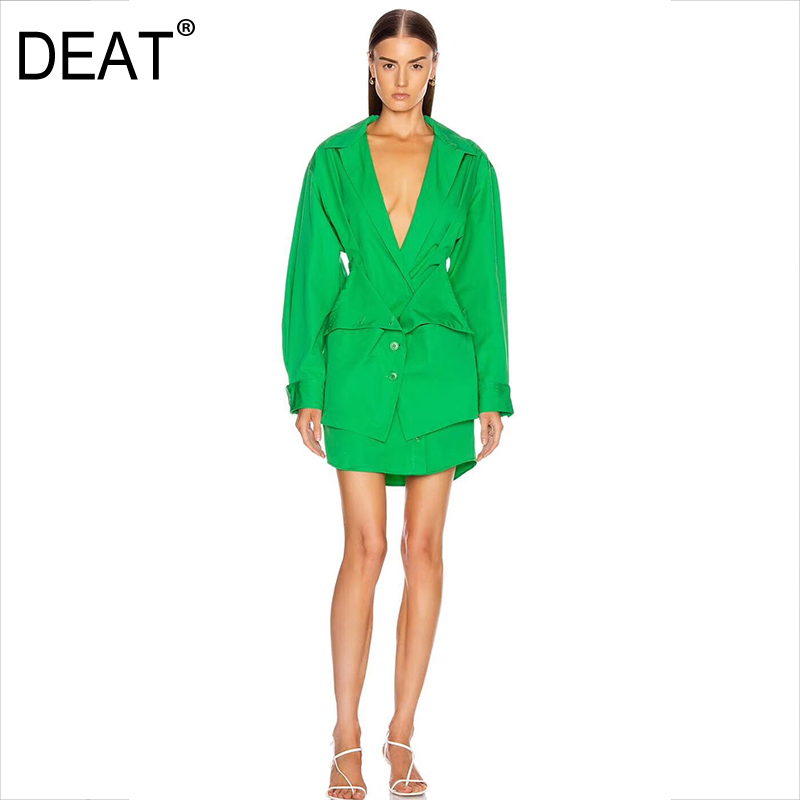 DEAT 2020 New Turn-down Collar Full Sleeves Single Breast Printed Waist Seal Shirt Dress Fake Two Pieces Spring And Summer WL569