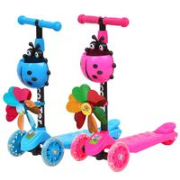 Windmill Ladybug Scooter Foldable and Adjustable Height Lean to Steer 3 Wheel Scooters for Toddler Kids Boys Girls Age 3 8
