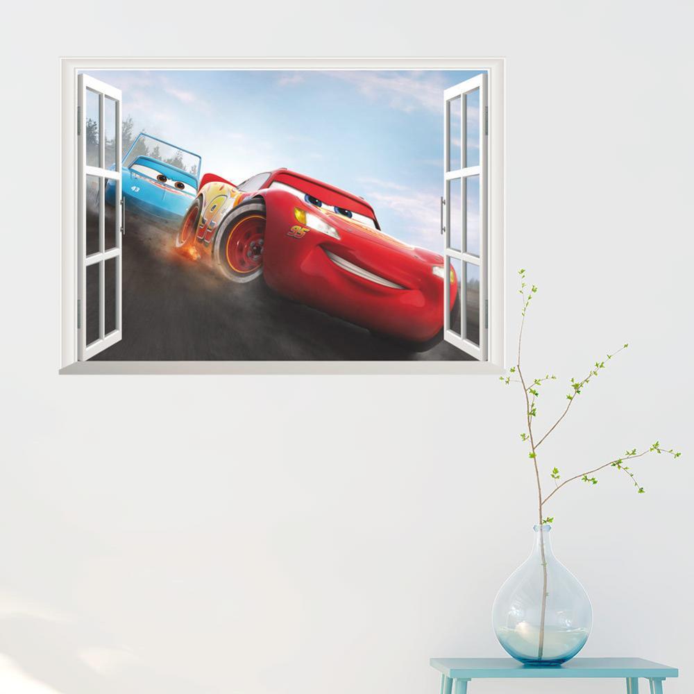 Cartoon Mcqueen Cars 3D Wall Stickers for Kids Room Boys Fake Window PVC Wallpaper Murals Sticker Decals Room Decoration Nursery 17