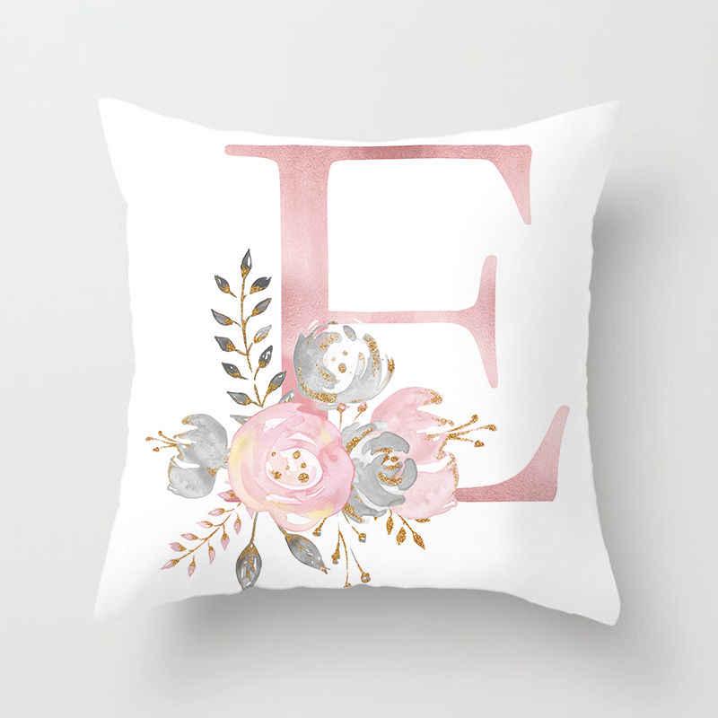 RUBYLOVE ピンク手紙装飾枕クッションカバー枕クッションソファポリエステル Pillowcover cuscini 装飾
