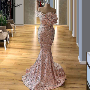 Image 2 - Pink Off Shoulder Party Dress Mermaid Dresses Woman Party Night Evening Gown 2020 Handmade Flower Prom Dresses Robe De Soiree