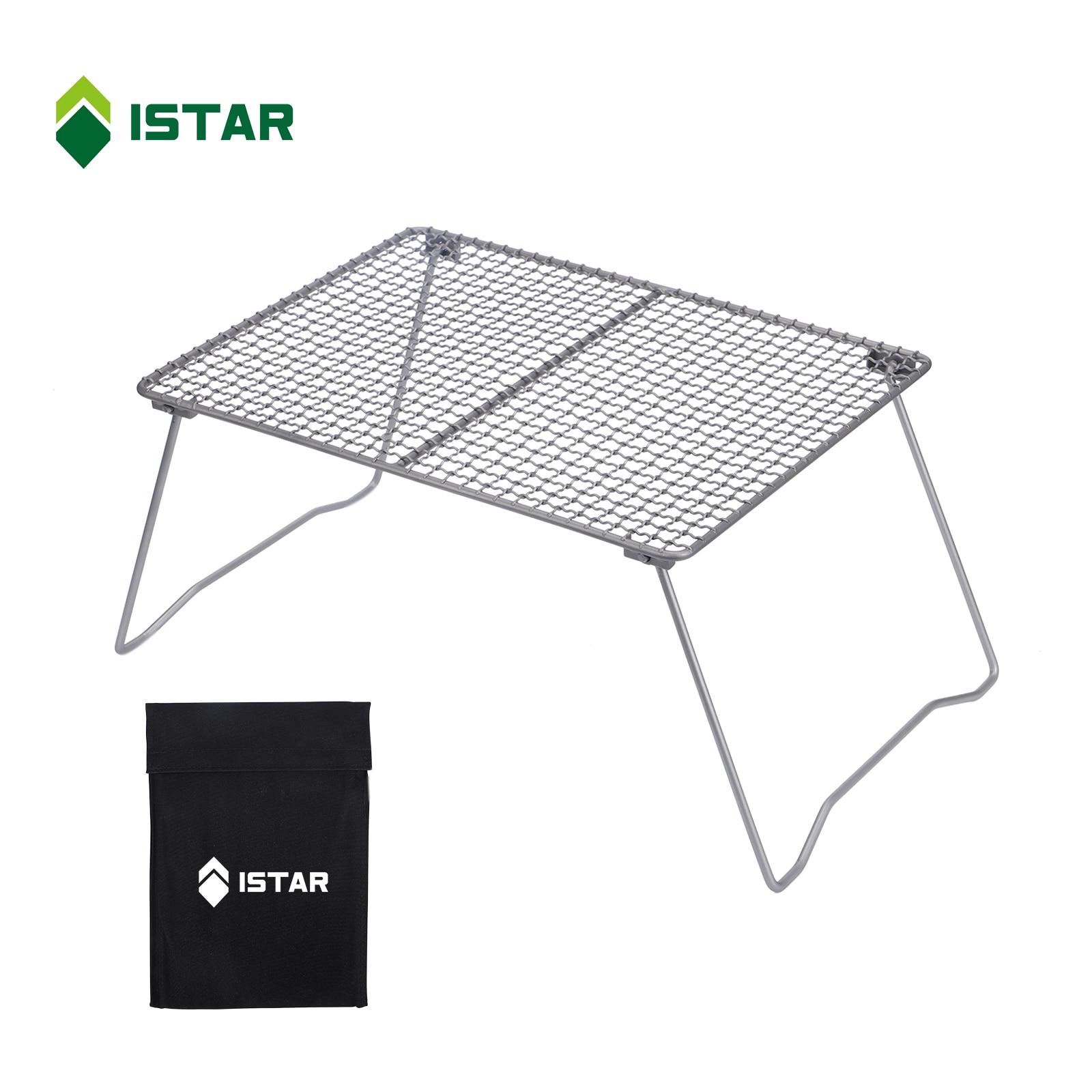 ISTAR-Parrilla de barbacoa plegable de titanio, ultraligera, portátil, para acampar al aire libre, senderismo y viaje por carretera