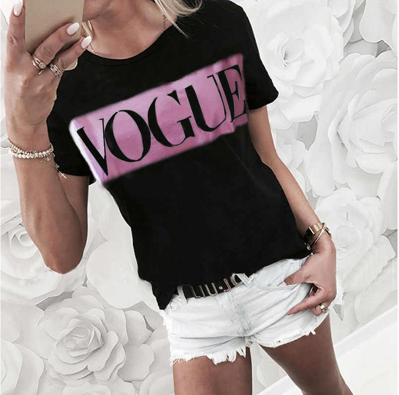 T 셔츠 여성 streetwear 캐주얼 반소매 라운드 넥 캐주얼 보그 프린트 여름 2019 Tshirts tops 하라주쿠 vestidos LDM190302