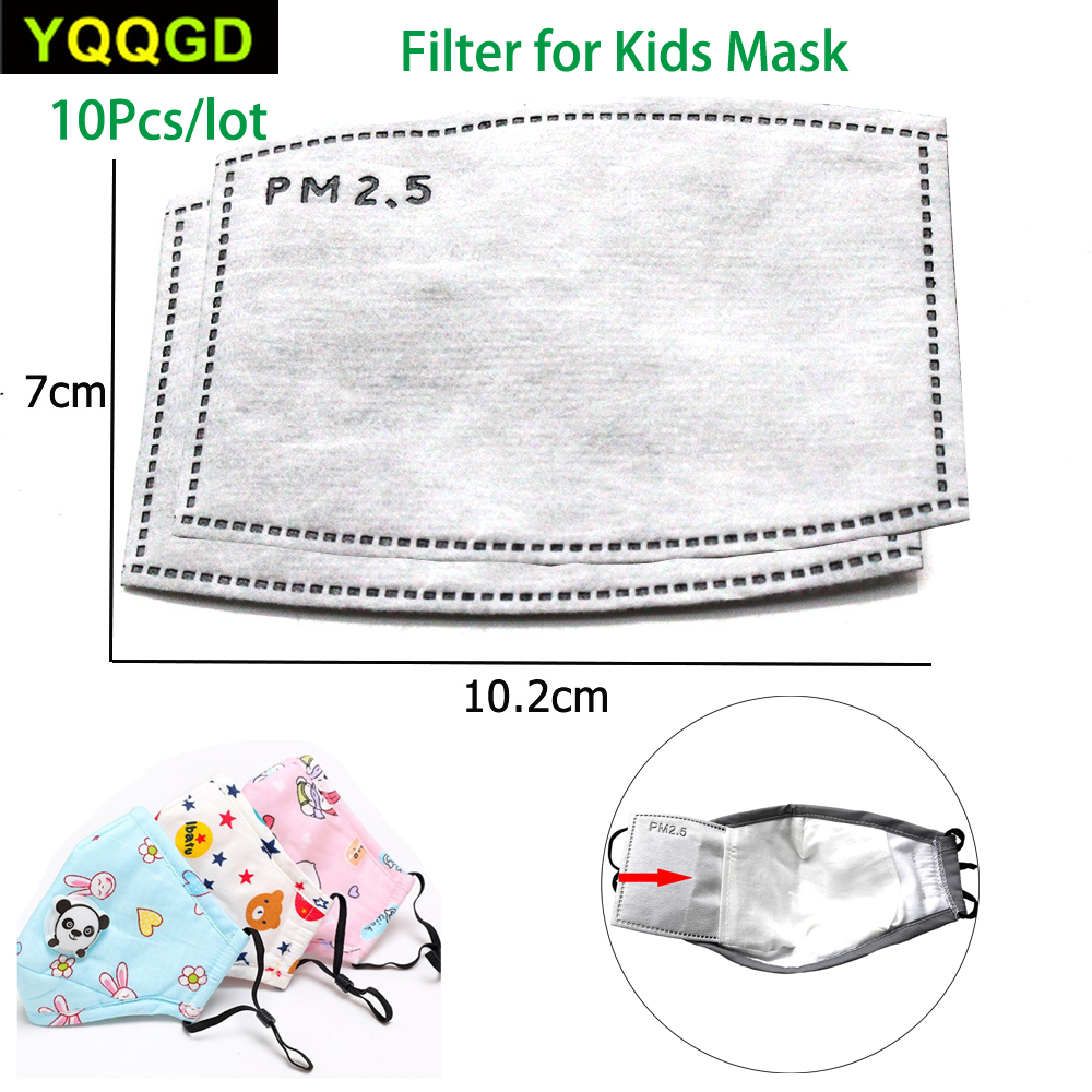 10Pcs/Lot PM2.5 Anti Haze Mouth Mask Replaceable Filter-slice 5 Layers Non-woven Child Kids Activated Carbon Filter