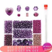 Ensemble de perles de forme mixte,, boules de cristal à facettes, breloques en verre, vente en gros, pour la fabrication de bijoux, bricolage