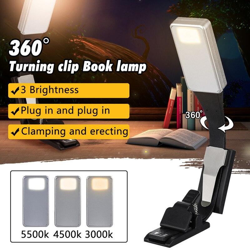 360 lesen Lampe Buch Licht Lampe Clip Dünne Warme Weiße Beleuchtung Flexible E-lesen Buch Licht USB Aufladbare Licht für Kindle