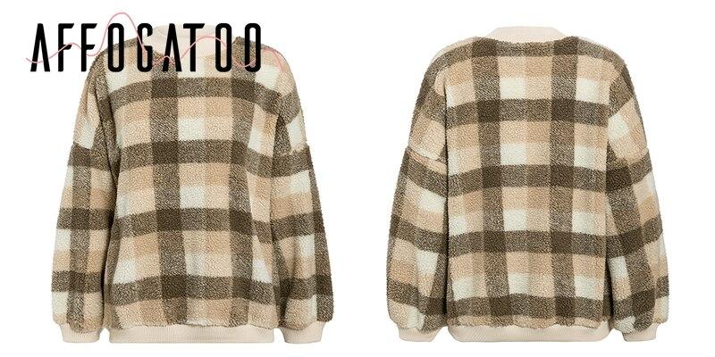 Affogatoo Casual O neck plaid lambswool hoodies sweatshirt women Vintage loose pullover sweatshirt Autumn winter ladies coats 12