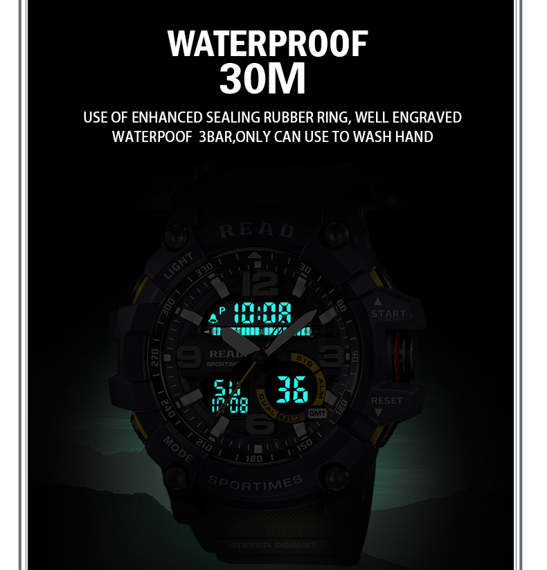 H96858e444a324da4b0bcad66746c321ab - READ Sport Watches for Men Waterproof Digital Watch LED Large Dail Luminous Clock Montre Homme Military Big Men Watches