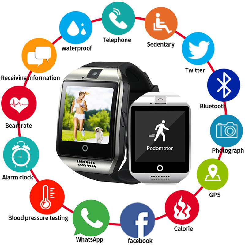 Bluetooth Smart Watch Men Q18 With Touch Screen Big Battery Support NFC TF Sim Card Camera For Android Women Camera Smartwatch