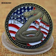 Amerikanischen schlange antique emaille lack relief Gedenk Medaillon metall abzeichen münze gedenkmünze fall us Navy glück