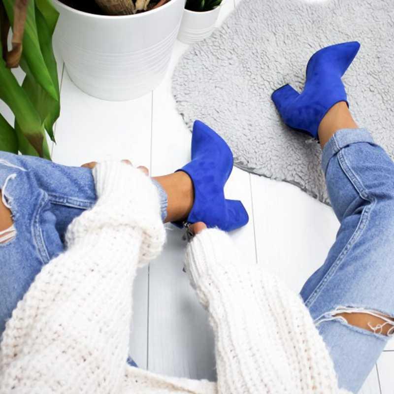 Nuevos zapatos para mujer, botas sexis al tobillo, botas cortas, moda de tacón alto, zapatos puntiagudos para mujer de talla grande 35-43