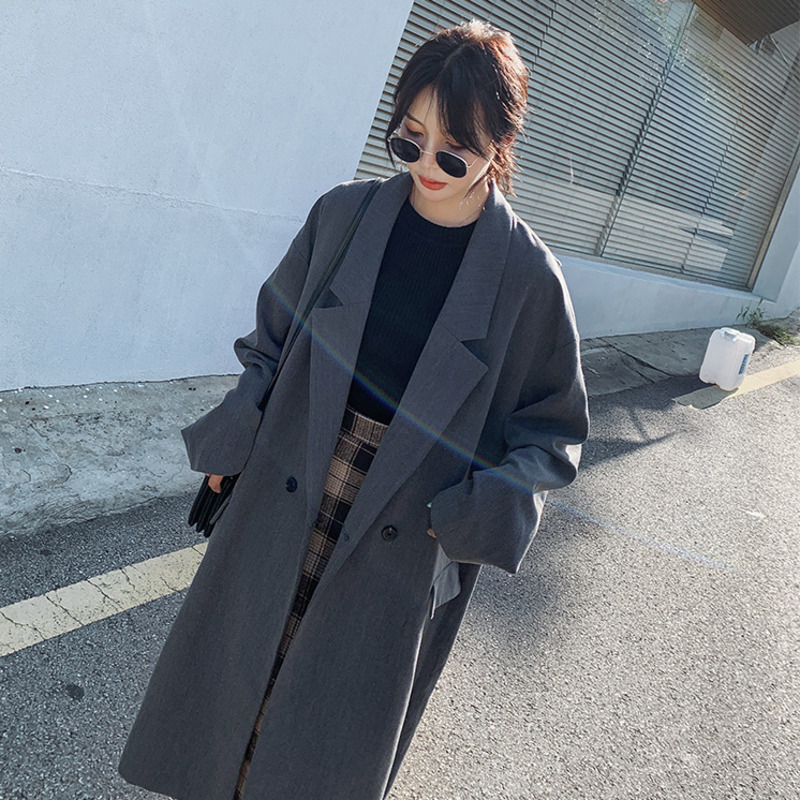 LANMREM 2020 New Spring Suit Style Trench Long Coat For Women Korea Loose Temperament Casual Windbreaker Fashion All-match PD577