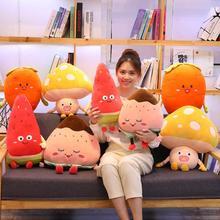 50/65 см мультфильм моделирование плюшевых игрушек фрукты подушка растительность гриб клубника арбуз морковь мягкие подушки подарок для детей