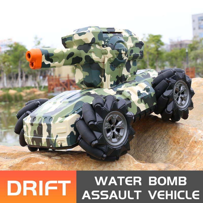 RC Military Tank Remote Control Tank Launch Water Bomb Against Assault Car Watch Induction Drift Car Electronic Hobby Boy Toy