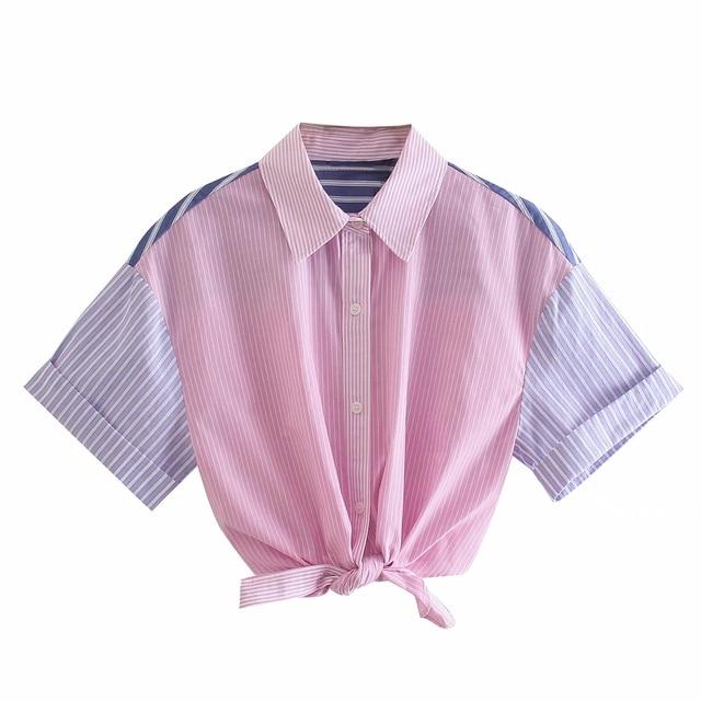 Summer Women Hem Knot Striped Splicing Blouse Crop Tops Female Short Sleeve Shirt Casual Lady Loose Blusas S8832