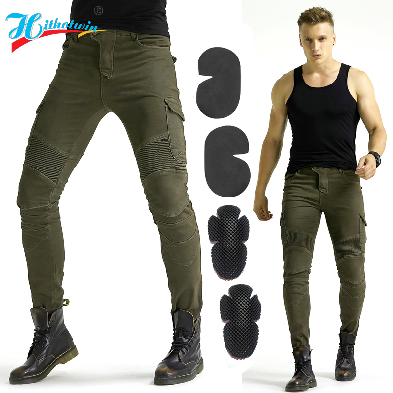 Motorcycle jeans 2018 new Army green UBS-06 jeans men motorcycle jeans protection equipment moto pants UBS-06 racing