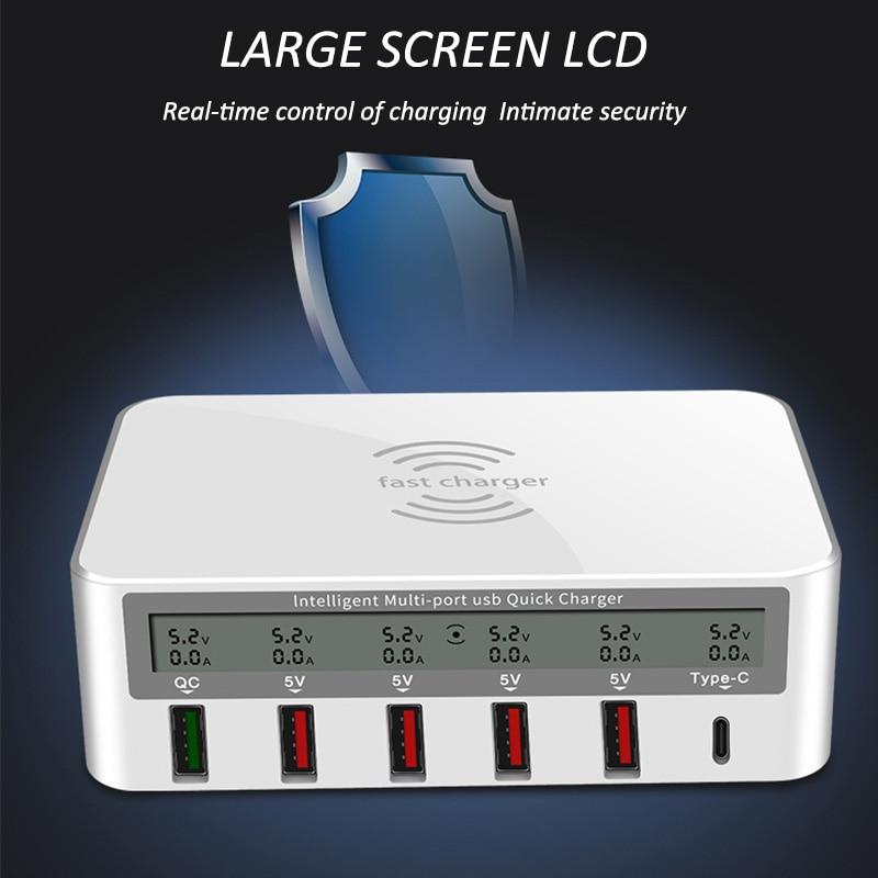 QC 3.0 USB chargeur pd Ports charge intelligente multi-port chargeur de voyage LCD affichage numérique Station multi-port USB prise de charge US