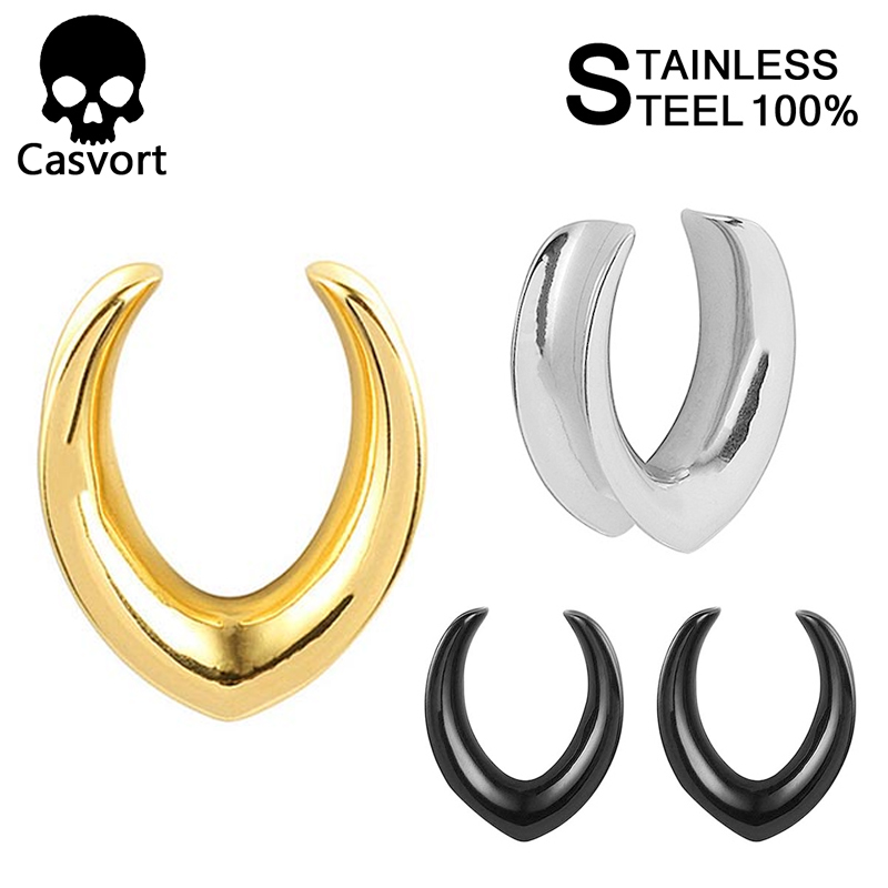 Casvort Plug Piercing Earrings Ring-Expander Stretchers Jewelry Saddle-Ear-Tunnel Studs