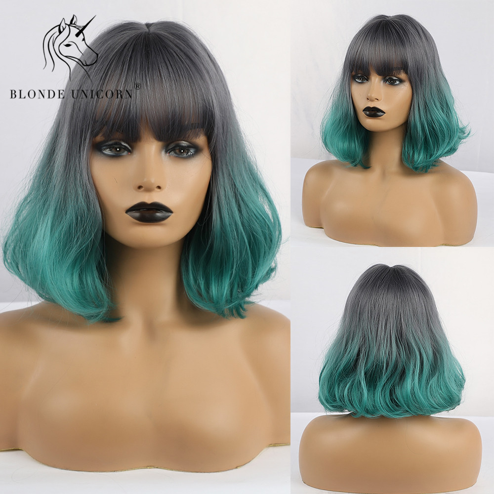BLONDE UNICORN Synthetic Grey Ombre GREEN 12 Inch Short Wavy Bob Wigs Cosplay Wig For Women High Temperature Fiber 9 Colors
