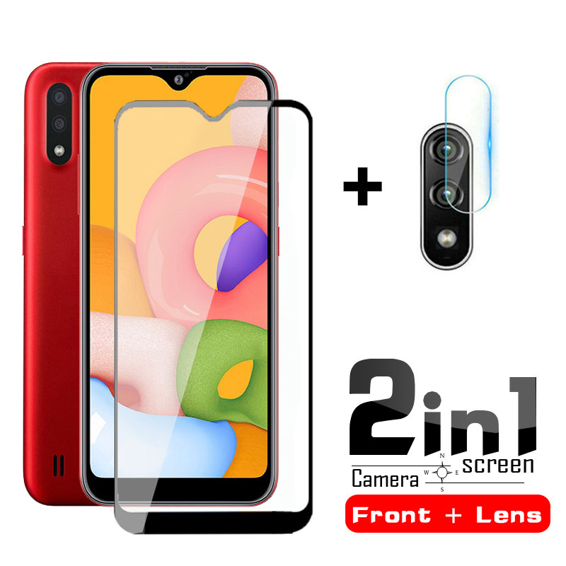 2in1 Camera Lens Protector & Screen Protective Glass For Samsung A01 On For Samsung Galaxy A 01 01a A01 Tempered Glass Film 5.7